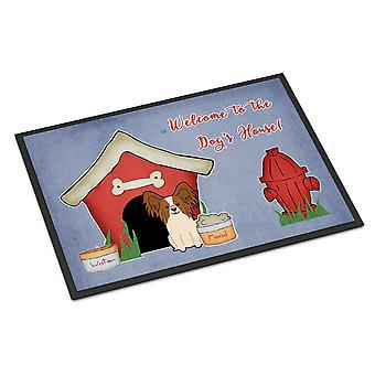 الكلب البيت جمع بابيلون أحمر أبيض داخلي أو في الهواء الطلق حصيرة 18 × 27