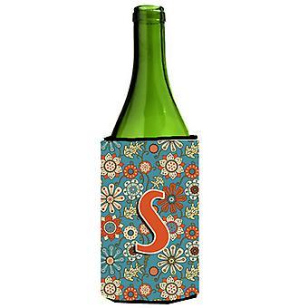 Letter S Flowers Retro Blue Wine Bottle Beverage Insulator Hugger