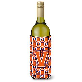Letter V Football Orange, White and Regalia Wine Bottle Beverage Insulator Hugge