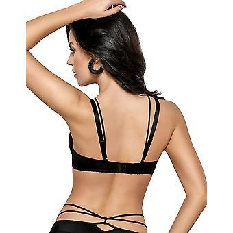 Gorsenia K407 naisten Coco musta pehmustettu Underwired Plus kokoa DD + tuki irrotettava hihnat on Push Up-rintaliivit