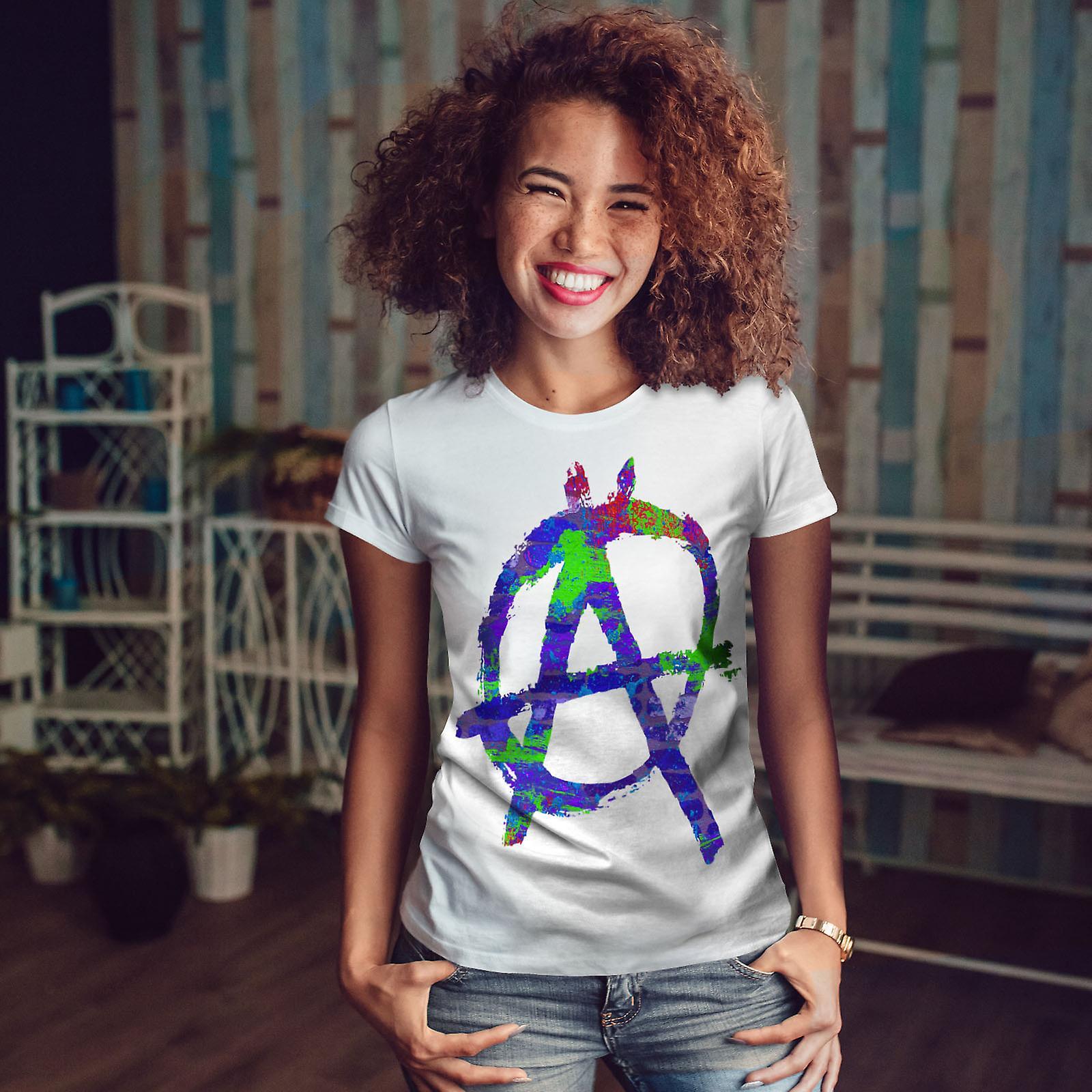 WhiteT-shirt anarchie symbole couleur femme | Wellcoda