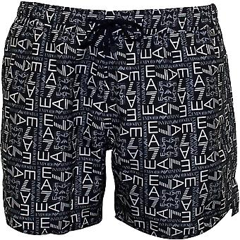 Emporio Armani EA7 Allover Logo Graphic Swim Shorts, Navy