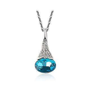 Womens Sky Blue Flower Bud Pendant Necklace With Encrusted Crystal Stones