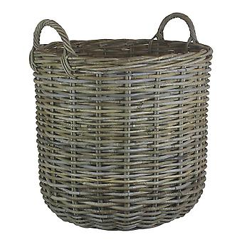 Medium Tall Round Fireside Grey Rattan Log Basket
