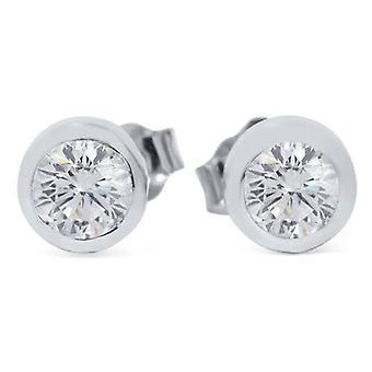 1 / 2ct lunette Set rond diamant goujons 14K White Gold