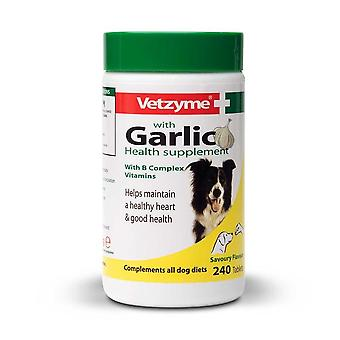 Vetzyme Garlic Health Supplement 240 Tablets for Dogs Healthy Heart, Vitality