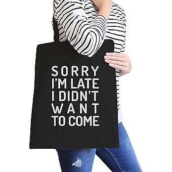 أنا آسف أواخر حقيبة كتف سوداء قماش لطيف القابل لإعادة الاستخدام للمراهقين
