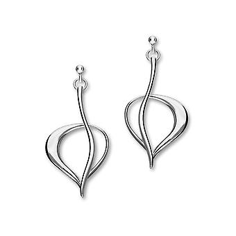 Sterling Silver Traditional Contemporary Modern Leah Design Pair of Earrings - E1757