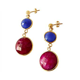 Gemshine naisten korva korut hopea Sapphire Ruby sininen punainen Faceted 4 cm