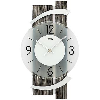 Wall clock quartz analog modern black grey wood look with aluminium 40 x 23 cm
