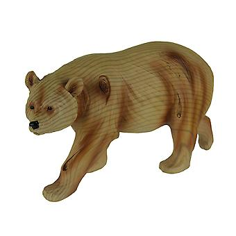 Walking Brown Bear Carved Wood Look Statue 8.5 Inches Long