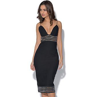 RARE Black Stripe Mesh Panel Dress