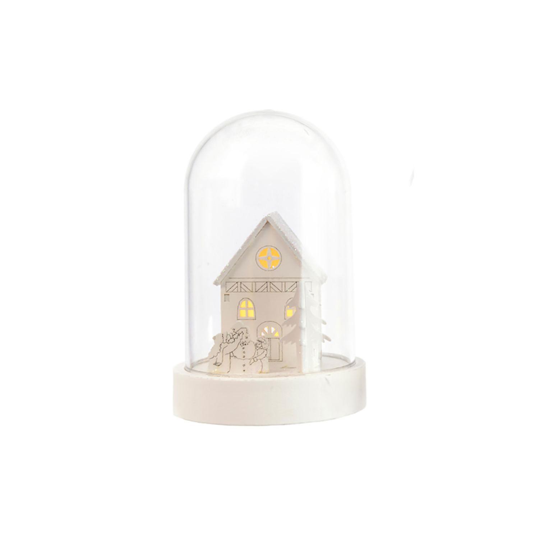 TRIXES LED Light Up White Wooden House Scene Decoration
