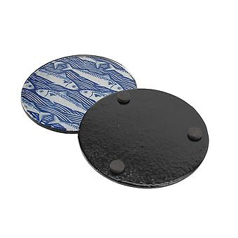 CGB Giftware Harbour 4 Blue Fish Glass Coasters