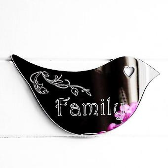 Floral Dove Acrylic Mirror Door or Wall Sign - FAMILY
