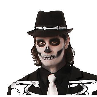 Bnov Skeleton Fedoran Hat, Halloween/Bones