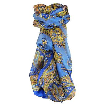 Mulberry Silk Traditional Long Scarf Kali Blue by Pashmina & Silk