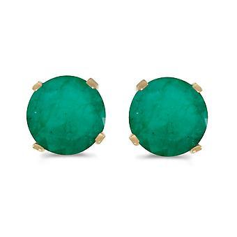 LXR 5 mm Natural Rund Smaragd Stecker Ohrringe Set in 14k Gelbgold 0.66 ct
