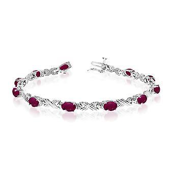 LXR 14K White Gold Oval Ruby and Diamond Bracelet 3.96 ct