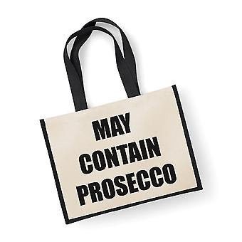 Large Black Jute Bag May Contain Prosecco