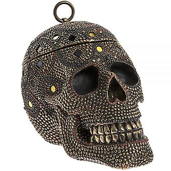 Exotic Art Skull Shape Trinket Jewellery Box With Lid Home Decoration Ornament