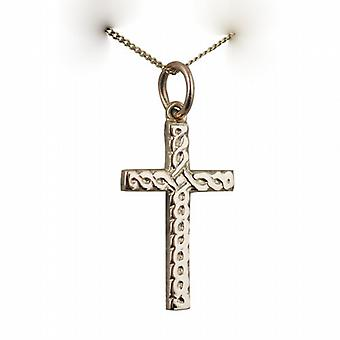 9ct золота 20x12mm кельтский крест с тиснением бордюр цепи 20 дюймов