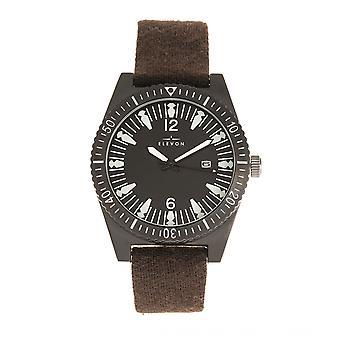 Elevon Jeppesen Pressed Wool Leather-Band Watch w/Date - Dark Brown