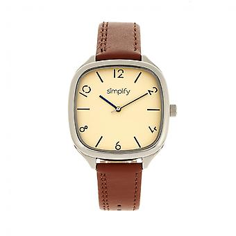 Simplify The 3500 Leather-Band Watch - Silver/Camel
