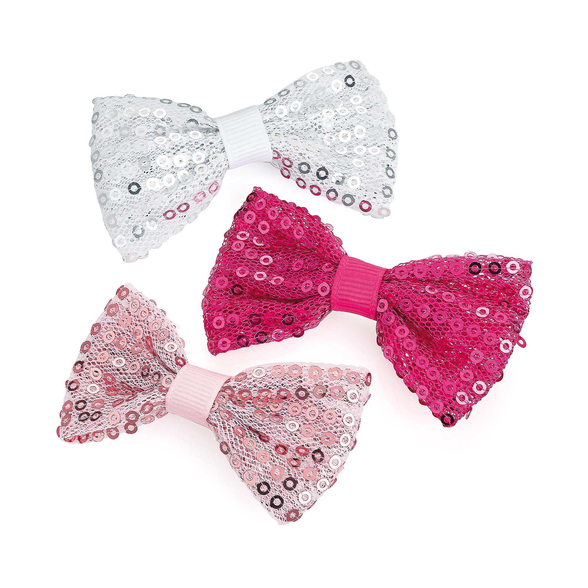 Girls pack of 3 bow sequin hair clips