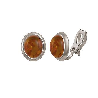 Eternal Collection Minuet Amber Silver Tone Stud Clip On Earrings