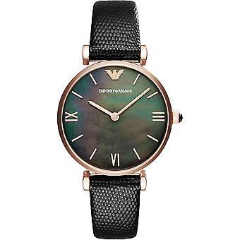 Emporio Armani Ar11060 couro preto senhoras Watch