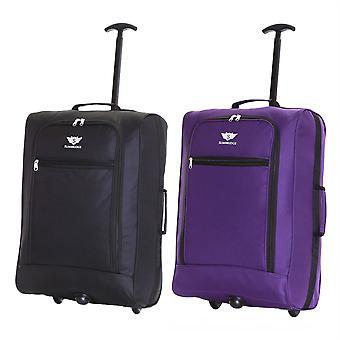 Slimbridge Montecorto Set van 2 cabine Bagage tassen, (Set van zwart en paars)