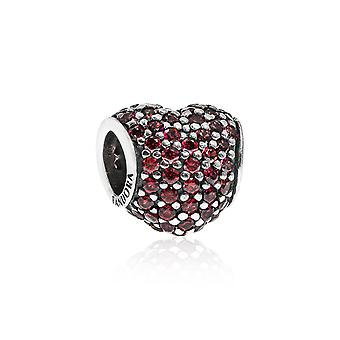 Pandora Pave Heart Silver & Red CZ Charm 791052CZR