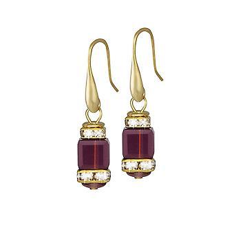 Eeuwige collectie Francesca Amethyst Crystal Gold Tone Drop doorboord oorbellen