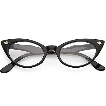 Womens kleine Retro Oval Cat Eye klar Objektiv Brille