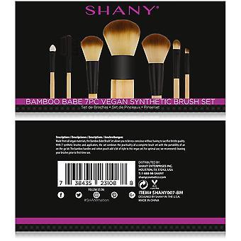 SHANY Bamboo Makeup Brush Set - Veganska borstar med premium syntetiskt hår & bomullspåse - 7pc