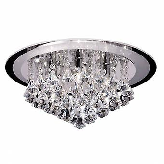 6 Light Flush Ceiling Light Chrome, Clear Crystal (k9) Drops