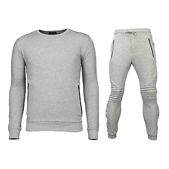 Tracksuits Basic-Buttons Joggingpak-Grey