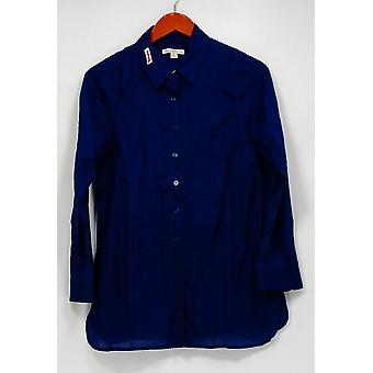 Isaac Mizrahi Live! Topp fold front tunika med rull tab ermer blå A216483