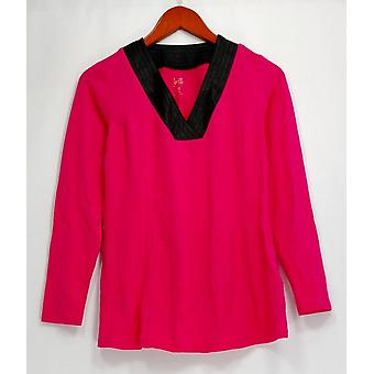 Belle Kim Gravel Top XXS Long Sleeves w/ Faux Leather V-Neckline Pink A296592