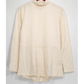 Isaac Mizrahi Live! Top Knit Mock Neck Long Sleeve Ivory A295815