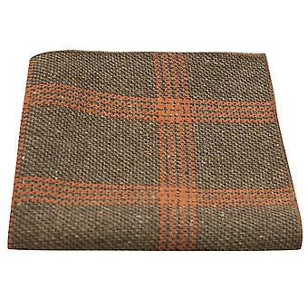 Kex Brown & Orange Birdseye kontrollera Pocket Square, näsduk