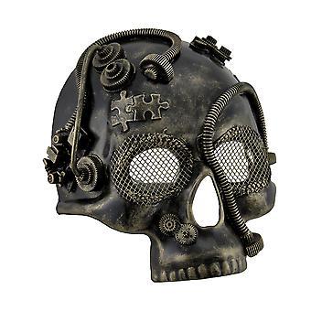 Metallic Steampunk Halv Skull Maskerade Kostume Mask