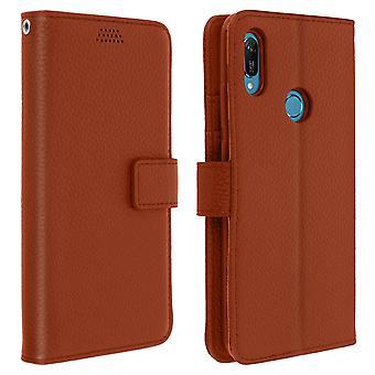 Flip portefeuille cas, couverture mince Huawei Y6 2019, coque en silicone - Brown