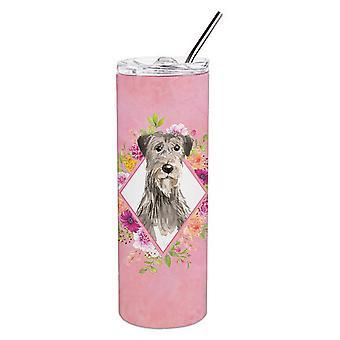 Ierse wolfshond roze bloemen dubbelwandige RVS 20 oz mager tuimelaar