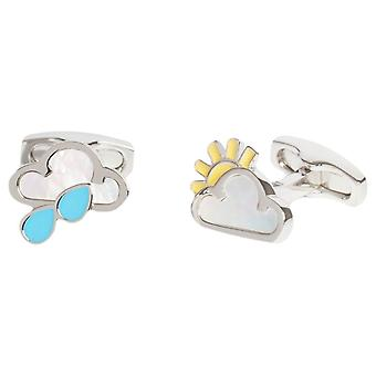Simon Carter Weather Symbol Cufflinks - Silver/Yellow/Blue