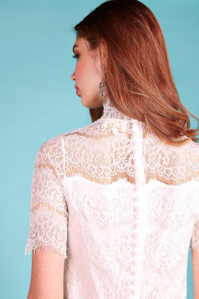 Louche Luxe Jaya Short Sleeve Lace Dress White