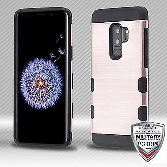 MYBAT Rose Gold/Black Brushed TUFF Trooper Hybrid Protector Cover for Galaxy S9 Plus