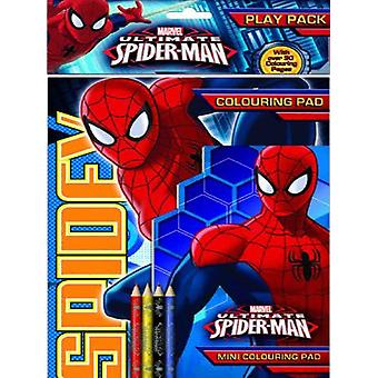 Marvel Ultimate Spiderman Play Pack Colouring Pads Pencils Childrens Activity Set Girls Kids