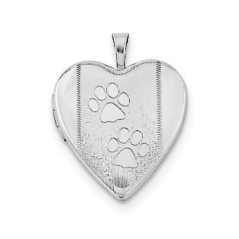 925 Sterling Silver Etched Engravable Holds 2 photos Polished and satin 20mm Textured and Polished Dog Cat Pet Paw Print